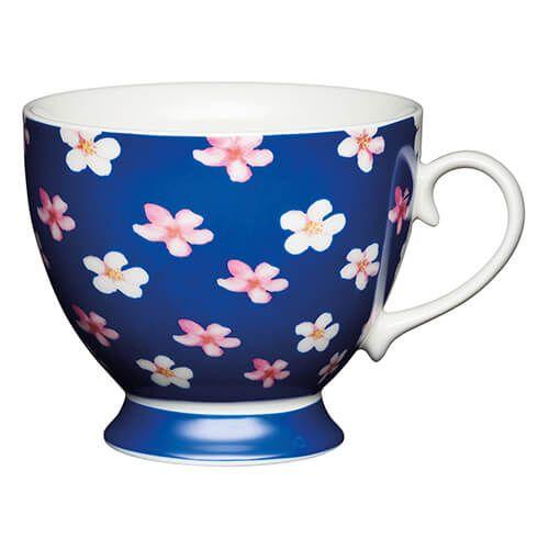 KitchenCraft China 400ml Footed Mug, Blue Ditsy