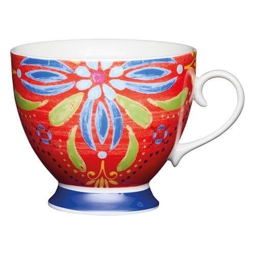 KitchenCraft China 400ml Footed Mug, Moroccan Red