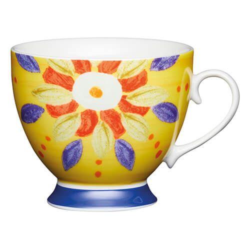KitchenCraft China 400ml Footed Mug, Moroccan Yellow