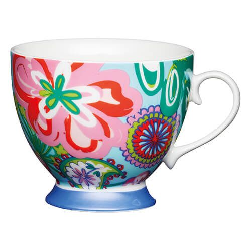 KitchenCraft China 400ml Footed Mug, Bright Floral
