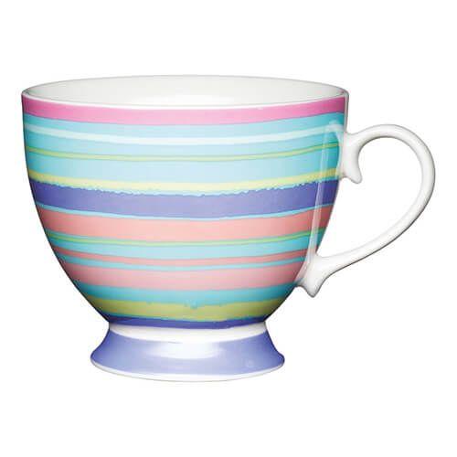 KitchenCraft China 400ml Footed Mug, Bright Stripe