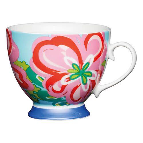 KitchenCraft China 400ml Footed Mug, Large Floral