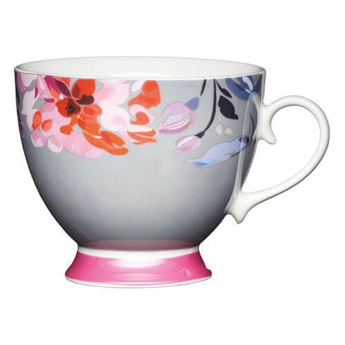 KitchenCraft China 400ml Footed Mug, Floral Border