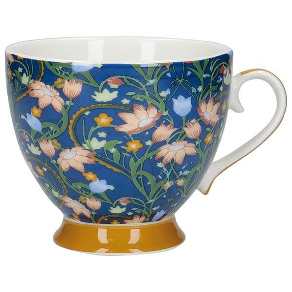 KitchenCraft China 400ml Footed Mug, Dusk Floral