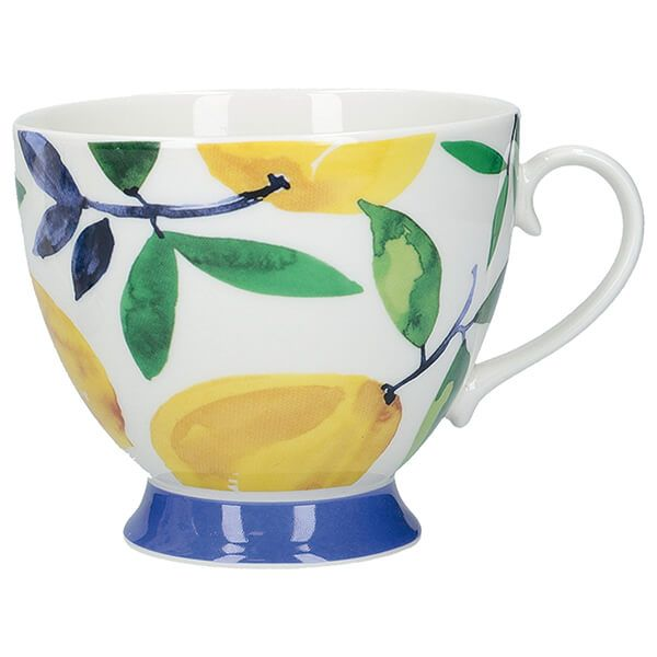 KitchenCraft China 400ml Footed Mug, Lemon Dream