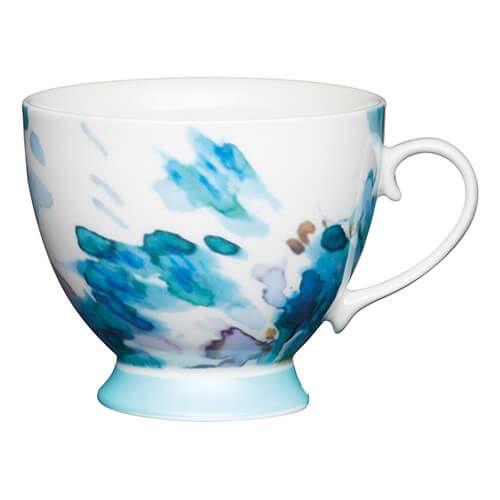 KitchenCraft China 400ml Footed Mug, Painted Floral