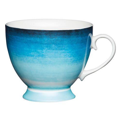 KitchenCraft China 400ml Footed Mug, Ombre Stripe