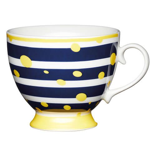 KitchenCraft China 400ml Footed Mug, Yellow Spot