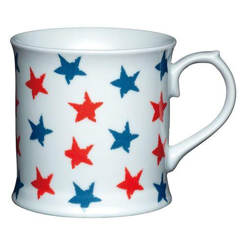 KitchenCraft Fine Porcelain Red and Blue Stars Mug