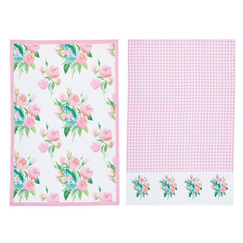 KitchenCraft Rose Tea Towels 2 Piece Set