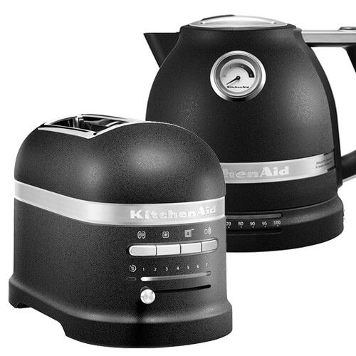 KitchenAid Artisan Cast Iron Black 2 Slot Toaster and Kettle Set