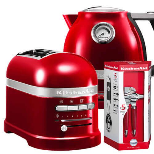 KitchenAid Artisan Candy Apple 2 Slot Toaster and Kettle Set with FREE Gift