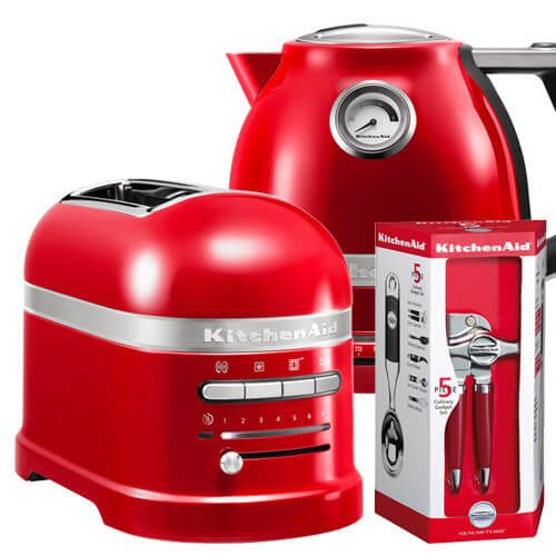 KitchenAid Artisan Empire Red 2 Slot Toaster and Kettle Set with FREE Gift