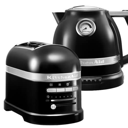 KitchenAid Artisan Onyx Black 2 Slot Toaster and Kettle Set