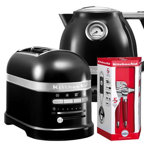 KitchenAid Artisan Onyx Black 2 Slot Toaster and Kettle Set with FREE Gift