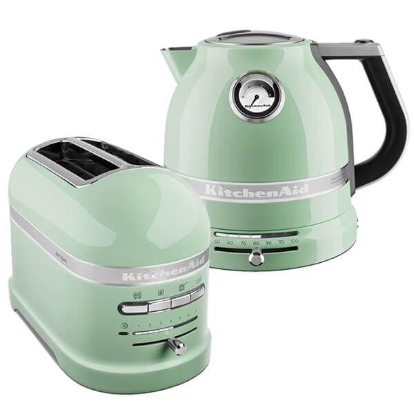 KitchenAid Artisan Pistachio 2 Slot Toaster and Kettle Set