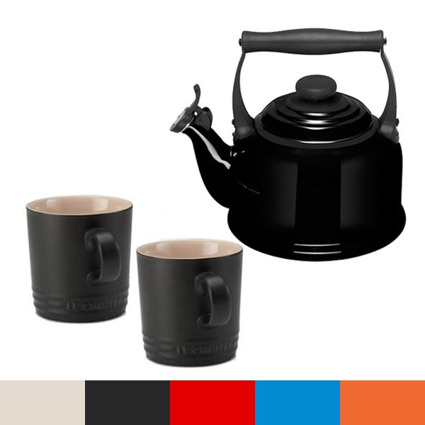 Le Creuset Black Traditional Kettle and Mug Set