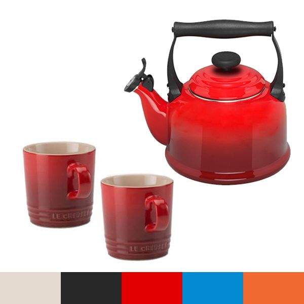 Le Creuset Cerise Traditional Kettle and Mug Set