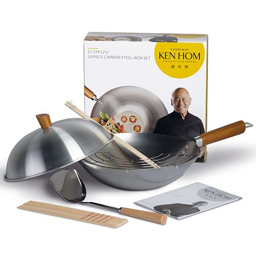 Ken Hom Everyday 31cm Carbon Steel Wok 10 Piece Set