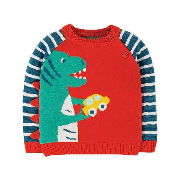 Frugi Organic Wilfred Knitted Jumper Koi Red/Dino