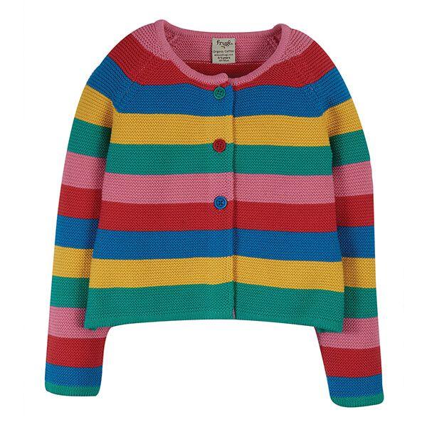 Frugi Organic Rainbow Stripe Rainbow Swing Cardi