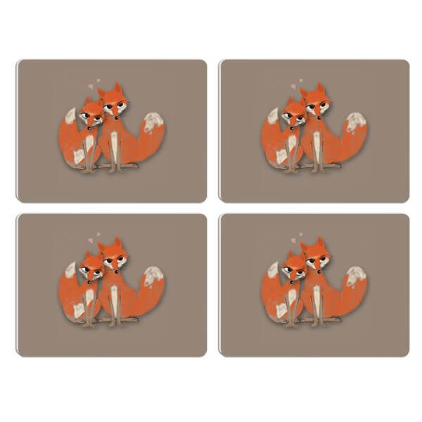 Melamaster Moulded Pack Of 4 Placemat Fox