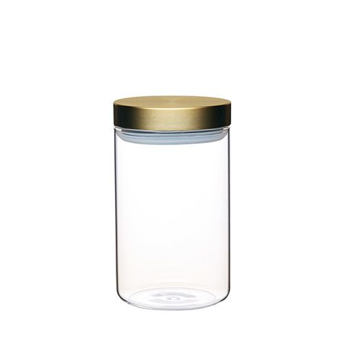 Master Class Medium Glass Canister with Burnished Brass Lid