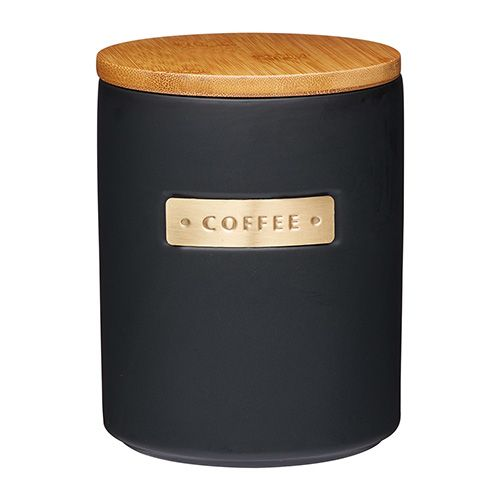 Master Class Black Stoneware Coffee Canister with Wood Lid
