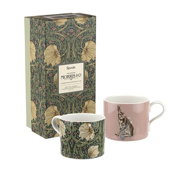 Morris & Co Pimpernel & Forest Hare Mugs Set of 2