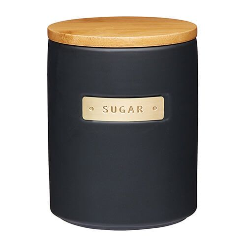 Master Class Black Stoneware Sugar Canister with Wood Lid