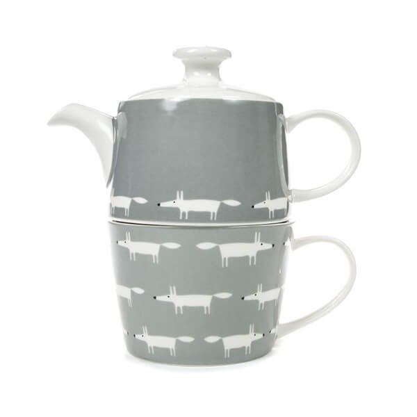 Scion Living Mr Fox Dove Grey Tea for One Set