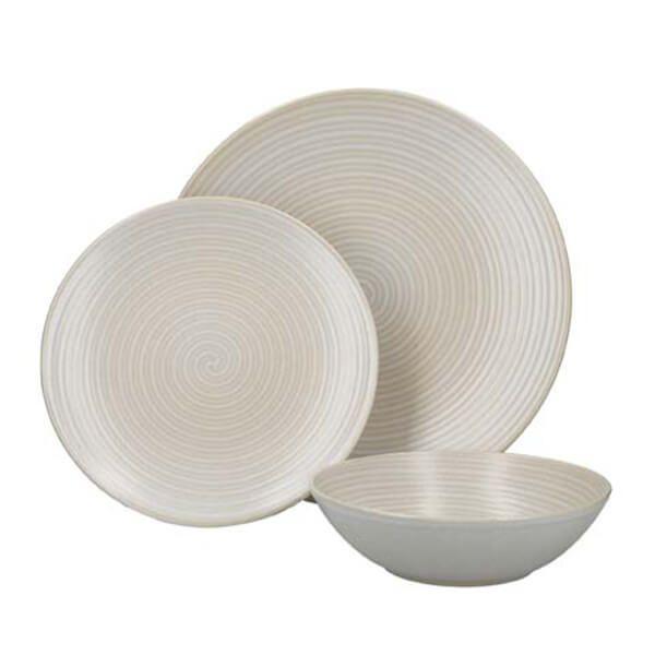 Mikasa White Swirl 12 Piece Stoneware Dinnerware Set