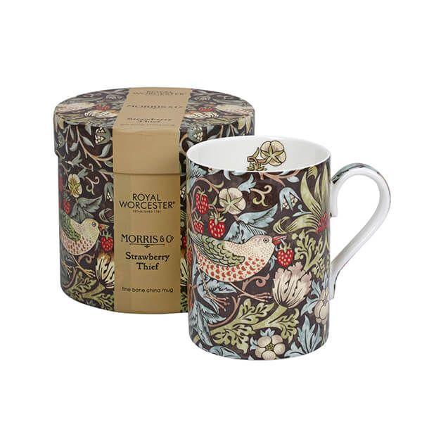 Morris & Co Strawberry Thief Chocolate / Slate Mug