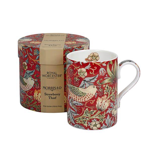 Morris & Co Strawberry Thief Crimson / Slate Mug