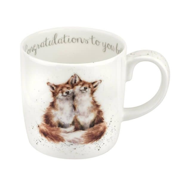 Wrendale Designs Large Fine Bone China Mug Congratulations To You Both Foxes