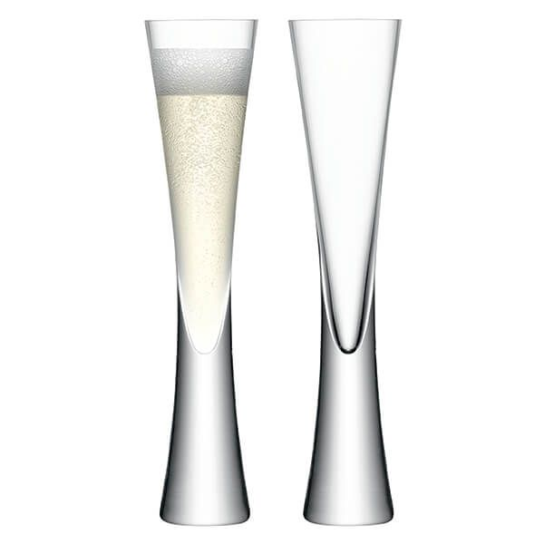 LSA Moya Champagne Flute 170ml Clear/Cut Set Of 2