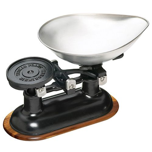 KitchenCraft Traditional Balance Scales in Black, Acacia Wood Stand