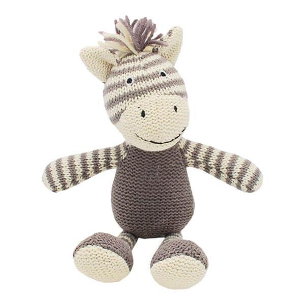 Walton & Co Knitted Zebra Rattle