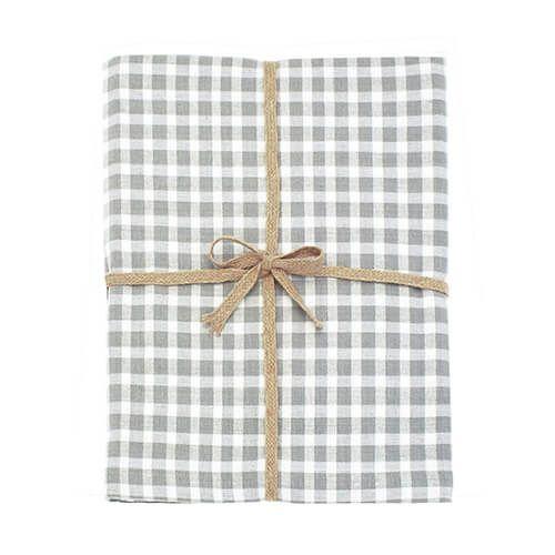 Walton & Co Portland Check Tablecloth Dove Grey 130x130cm
