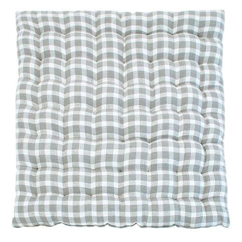 Walton & Co Portland Check Squab Seat Pad Dove Grey