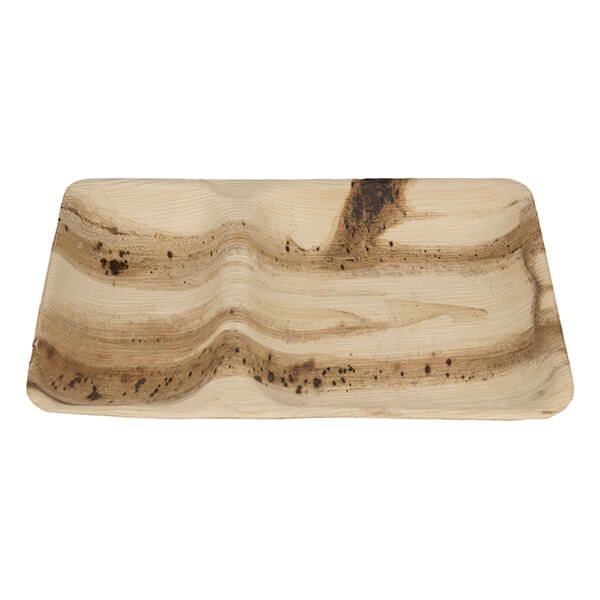 EcoSouLife Areca Nut Leaf 28 x 18cm Divided Plate, 25 Pieces