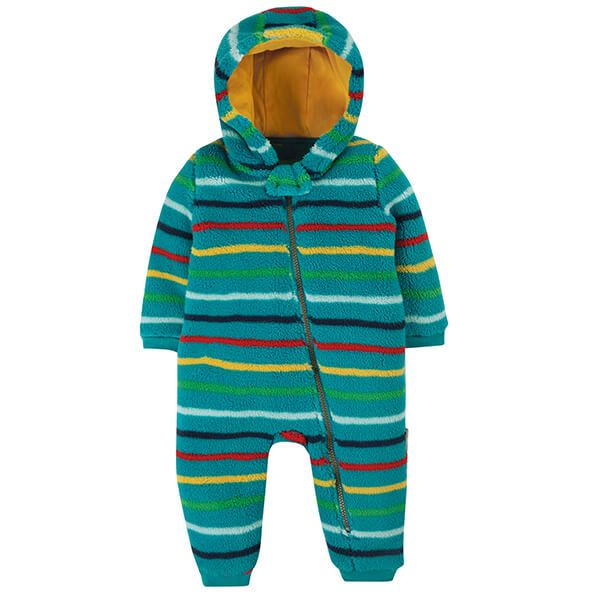 Frugi Organic Tobermory Rainbow Strip Ted Fleece Snuggle Suit Size 12-18 Months