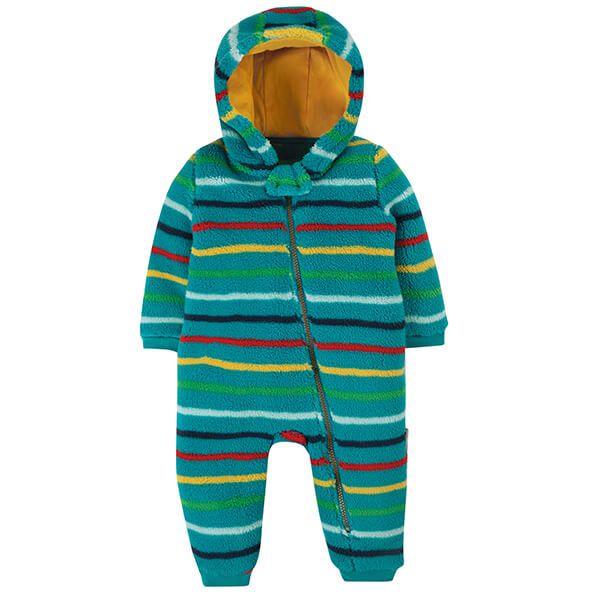 Frugi Organic Tobermory Rainbow Strip Ted Fleece Snuggle Suit