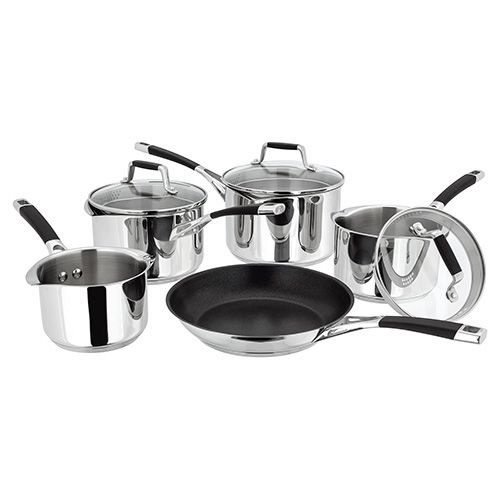 Stellar 5000 Induction 5 Piece Draining Lid Saucepan Set
