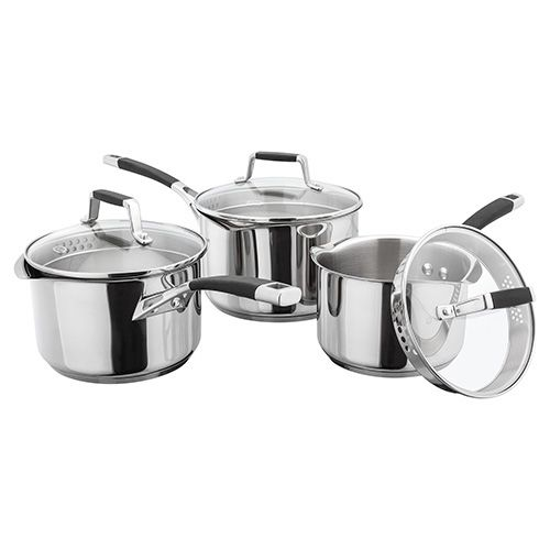 Stellar 5000 Induction 3 Piece Draining Lid Saucepan Set