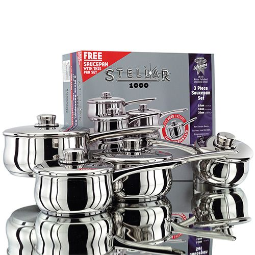 Stellar 1000 3 Piece Set With FREE 14cm Saucepan