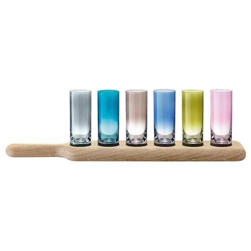 LSA Paddle Vodka Set & Oak Paddle 40cm Assorted Colours