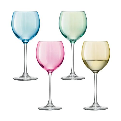 LSA Polka Pastel Wine Glass 400ml Set Of Four