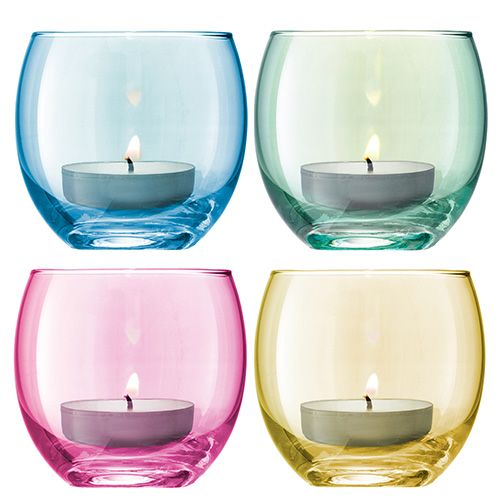 LSA Polka Pastel Tealight Holder 6.5cm Set Of Four