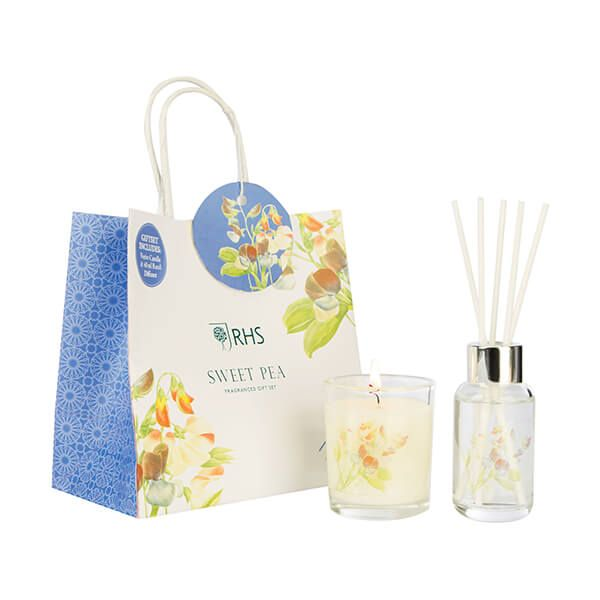 Wax Lyrical RHS Fragrant Garden Sweet Pea Candle & Reed Diffuser Gift Set